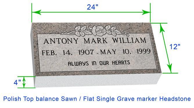 "MF01 Flat Single Grave Marker Headstone 24""x12""x4"" P1SWN"