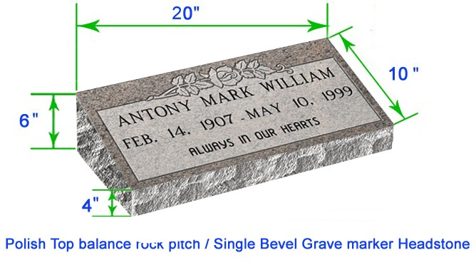 "MB20 Flat Single Bevel Marker Headstone 20""x10""x6"" P1BRP"