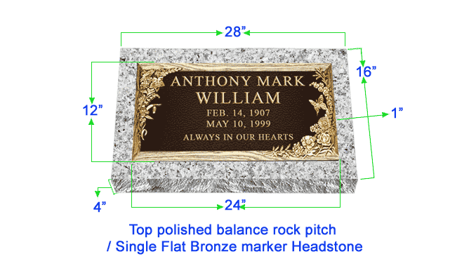 "BRZ01 Flat Single Grave Marker Headstone 24""x12"" Bronze / 28""x16""x4"" Granite P1SWN"