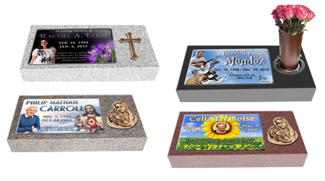 "MF01 Flat Single Eternal Life Grave Marker Headstone 24""x12""x4"" with 16""x10"" color porcelain  P1SWN"
