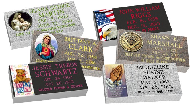 """MF01 Flat Single Color Grave Marker Headstone 24""""x12""""x4"""" with 6""""x12"""" color porcelain  P1SWN"""