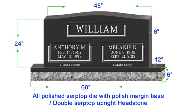 "U104  Single Upright Serptop Headstone 48""x6""x24""  Top  with 60""x12""x6"" Base"