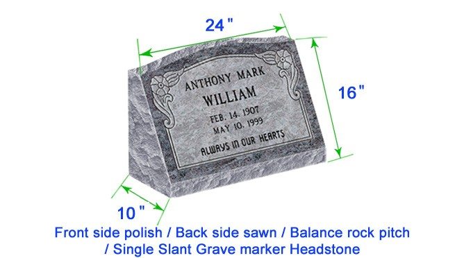 "M104 Flat Single Slant Marker Headstone 24""x10""x16"" P1BRP"