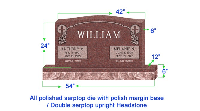 "U104  Companion Upright Serptop Headstone 42""x6""x24""   Top  with 54""x12""x6"" Base"