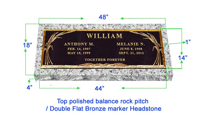 "BRZ01 Flat Single Grave Marker Headstone 44""x14"" Bronze / 48""x18""x4"" Granite P1SWN"