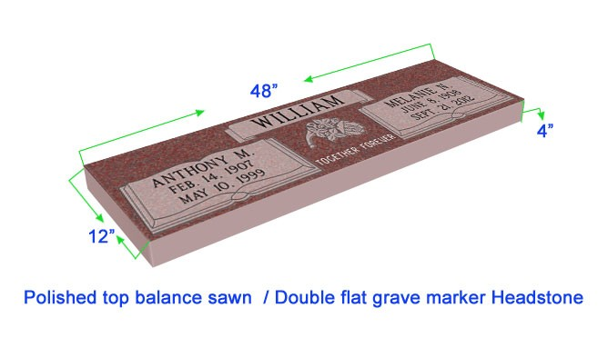 "MF01 Flat Double Grave Marker Headstone 48""x12""x4"" P1SWN"