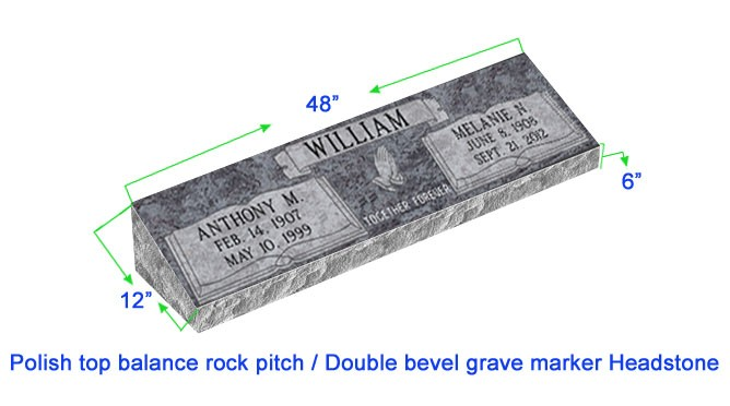 Mb20 Flat Double Bevel Grave Marker Headstone 48 Quot X12 Quot X6 Quot P1swn