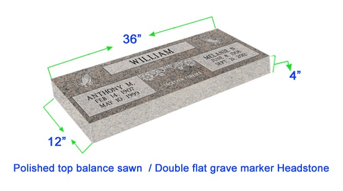 "MF01 Flat Double Grave Marker Headstone 36""x12""x4"" P1SWN"
