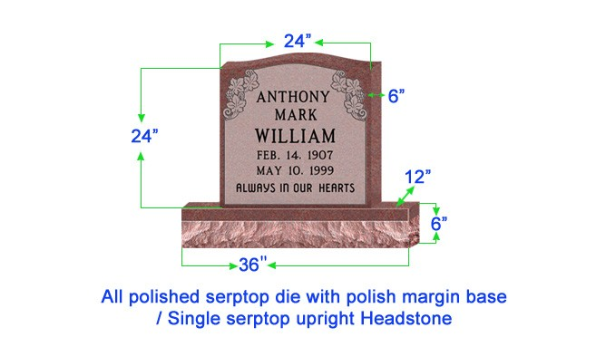 "U104  Single Upright Serptop Headstone 24""x6""x24""   Top  with 36""x12""x6"" Base"