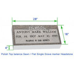 "MF01 Flat Single Grave Marker Headstone 28""x16""x4"" P1SWN"