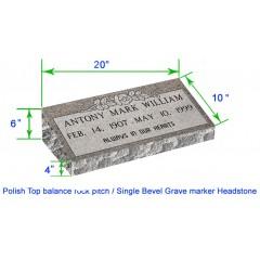 "MB20 Flat Single Bevel Marker Headstone 20""x10""x6"" P1BRP"