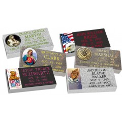 "MF01 Flat Single Color Grave Marker Headstone 24""x12""x4"" with 6""x12"" color porcelain  P1SWN"