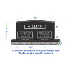 "U104  Single Upright Serptop Headstone 48""x6""x24""  Top  with 60""x12""x6"" Base"