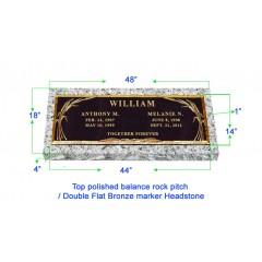 "BRZ01 Flat Single Grave Marker Headstone 44""x14"" Bronze / 48""x18""x4"" Granite P1SWN"