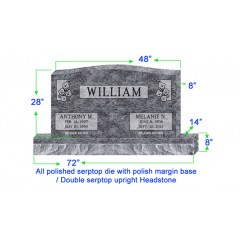"U104  Companion Upright Serptop Headstone 48""x8""x28""   Top  with 72""x14""x8"" Base"