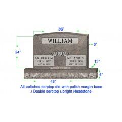 "U104  Companion Upright Serptop Headstone 36""x6""x24""   Top  with 48""x12""x6"" Base"