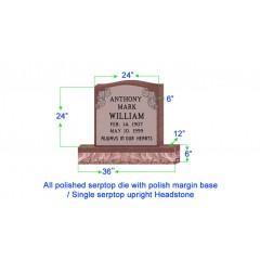 "U104  Single Upright Serptop Headstone 24""x6""x24""   Top  with 36""x12""x6"" Base"