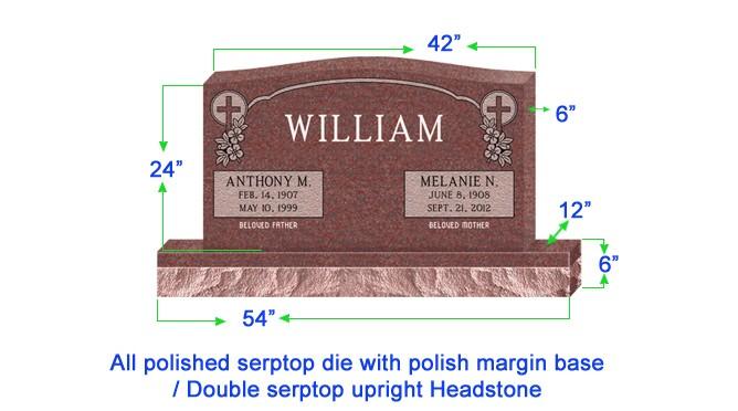 "U104  Companion Upright Serptop Headstone 42""x6""x24""   Top  with 54""x12""x6"" Base"