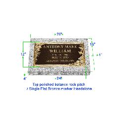 "BRZ01 Flat Single Grave Marker Headstone 24""x12"" Bronze / 28""x16""x4"" Granite P1SWN"