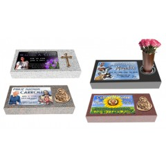 """MF01 Flat Single Eternal Life Grave Marker Headstone 24""""x12""""x4"""" with 16""""x10"""" color porcelain  P1SWN"""