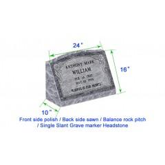 "M104 Flat Single Slant Marker Headstone 24""x10""x16"" P1BRP"