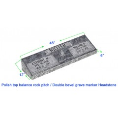 """MB20 Flat Double Bevel Grave Marker Headstone 48""""x12""""x6"""" P1SWN"""
