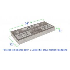 "MF01 Flat Double Grave Marker Headstone 36""x12""x4"" P1SWN"